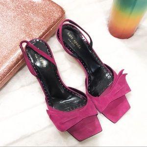 Kate Spade sling back pink suede square toe heels